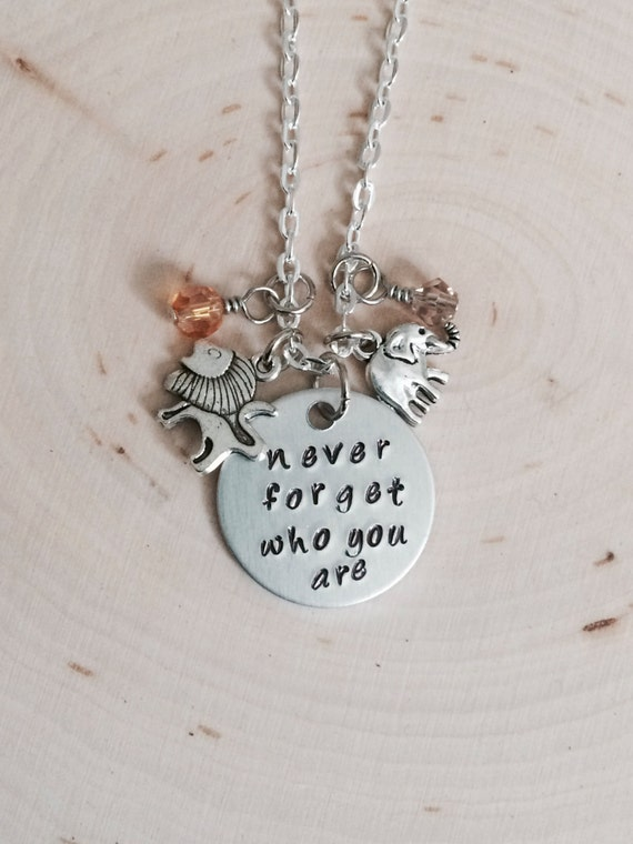 King, Lion, Musical, Hakuna Matata, Never Forget, elephant, lion, charm necklace