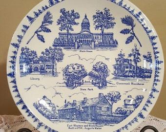 R. B. Herrick Co. Augusta, Maine Souvenir Plate by Vernon Kilns 1940's
