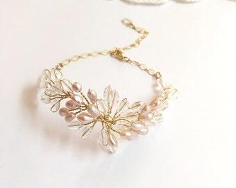 Pearl wedding bracelet, gold bridal vines bracelet, wedding jewelry bracelet, wedding bangle bracelet, gold bracelet, bracelet bridal