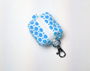 EOS style lip balm holder zipper pouch with clip - for circle or egg shape lip balms - Blue Polka
