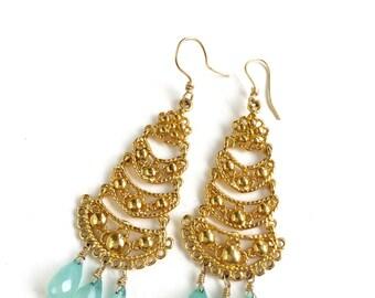 Chalcedony Filigree Chandelier Earrings  by KarenWhalenDesigns