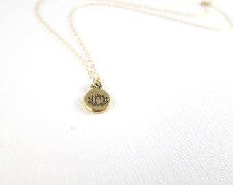 Tiny Lotus Drop Necklace