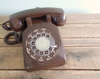 Chocolate Brown ITT Rotary Phone