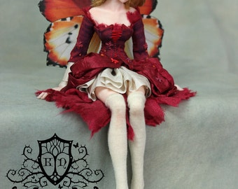 OOAK Art Doll Sculpture - Fialla - Sitting Fairy by Ksheyna Nightswood