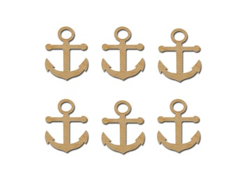 Anchor Shape Wood Cut Outs Wooden Unfinished Anchors 6 Pieces