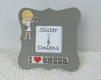 I Heart Cheer Picture Frame - Cheerleading Picture Frame - Embellished Sports Picture Frame