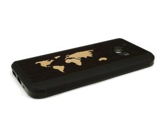 HTC 10 Case Wood World Map Inlay Wenge Maple, Wood HTC 10 Case, HTC 10 Wood Case