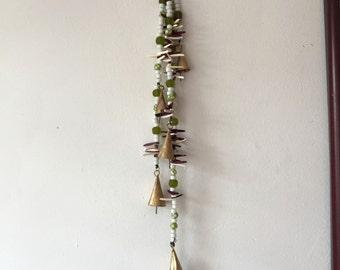 Bells on a String, Hanging Bells, Folk Art Chimes, Garden Chimes Bells, Decorated Bells, Metal Bells, Lime Green Bells, Plum Magenta Bells
