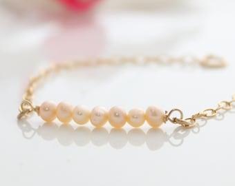 Pink Pearls Bracelet - Delicate gold bracelet with peach pearls, Pearl beads bracelet