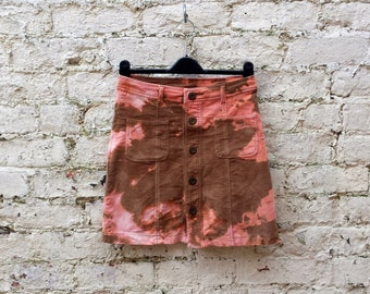Corduroy Skirt Tie Dye A-Line to fit UK Size 8 or US size 4 Brown & Peach Festival Clothing