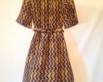 vintage 1970s dress brown and tan dress small vintage dress 1970s 70s seventies belted shift dress Japanese 70s dress botanical print