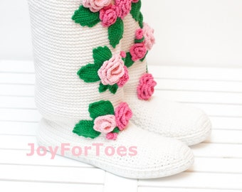 """Wedding boots """"Pink Roses"""", Floral women shoes, Low heel wedding shoes, Crochet Bridal shoes, Spring women fashion"""