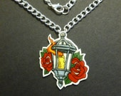 Roses & Lantern Tattoo Necklace Shrink Plastic Hand-drawn