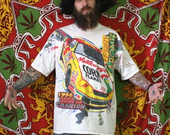 terry LaBonte 90s Double Sided Bright Retro Nascar 90s Shirt. Huge Bright Corn Flakes Terry LaBonte Oversized Baggy Nascar T Shirt.