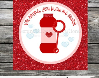 DIY Valentine Tags, Valentine Favors, Valentine's Day, Valentine DIY Stickers, Valentine Bubbles, Classroom Treat, Instant Download