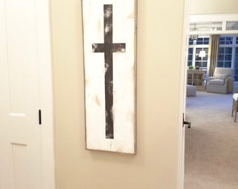 Black and white large cross rustic wood sign