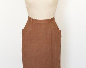 Vintage 1940s Skirt/Vintage Skirt/1940s Skirt/Vintage Brown Skirt/1940s Linen Skirt