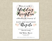 Printable Wedding Reception Invitation, Celebration, After Party Invitation Custom Printable 5x7