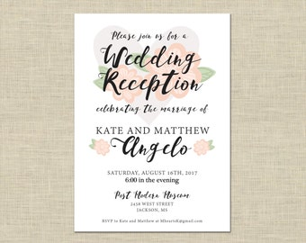 Printable Wedding Reception Invitation, Celebration, After Party Invitation Custom Printable 5x7