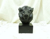 Vintage Reproduction 1943 Lions Head Bust by Georges Médée in Bronze Resin / French Sculpture / Artist / Wild Animal / Retro Home Interior
