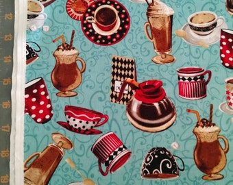 All About Coffee Cotton Fabric by the 1/2 Yard Exclusively Quilters