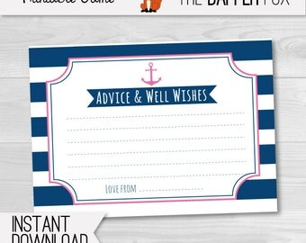Pink Nautical Baby Shower games Advice Cards - printable - Navy and Pink Advice and wishes for baby shower Girl baby shower game Sailor