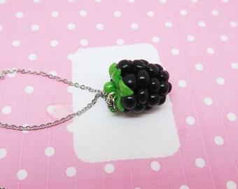 Blackberry Necklace - Fruit jewelry - Fruit necklace - Miniature Food Jewelry