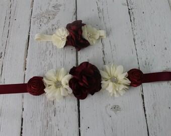 Burgundy Flower Girl Sash  Burgundy Flower Headband Rustic Burgundy Jr Bridesmaid Sash Vintage Sash & Headband