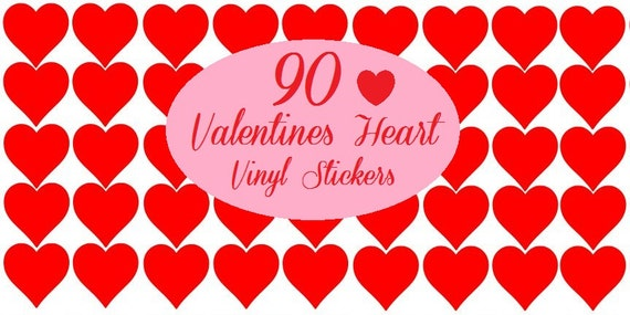 90 1.25 inch Vinyl Heart Stickers Envelope Seals, Party Favors, Party Glasses, Unlimited Possibilities