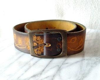 Vintage Tooled Flowers Boho Leather Belt