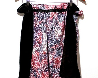 SALE Sheer White and Tie Dye Paisley High Waisted Lace Shorts / Hot Pants with Black Sheer Panels