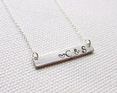Initial Bar Necklace Silver Hand Stamped Personalized Custom Pendant Best Friends Couples