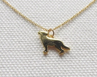 Gold Wolf Necklace, 14k Gold Fill Chain, Tiny Petite Simple Jewelry, Quirky Animal