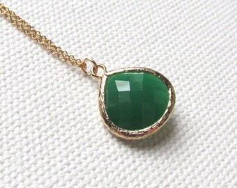 Palace Green Necklace, 14k Gold Fill Chain Jade Green Stone Bridal Bridesmaid Minimal Jewelry, Simple Glass Necklace