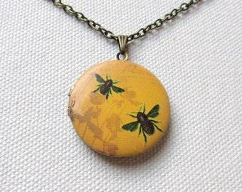 Bee Locket Yellow Honeybee Necklace Cute Kitsch Nature Jewelry Long Chain Locket