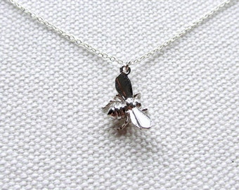 Silver Bee Necklace Tiny Honey Bee Charm Sterling Silver Chain Nature Jewelry Delicate Everyday