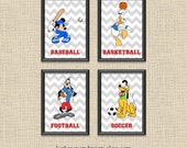 Set of 4 Mickey & Friends Sports Chevron Printable Wall Art 5x7