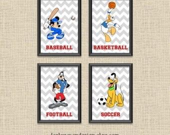 Set of 4 Mickey & Friends Sports Chevron Printable Wall Art 5x7