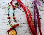 Chickadee Pendant Necklace, Woodland Necklace, Sari Silk Necklace, Czech Beads Necklace, Pendant Necklace