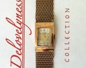 Vintage Camy Ermiro Womens Watch, Ladies Swiss Watch, Rose Gold Plate, Rectangular Dial, 17 Jewels Mvt, Mesh Band,  Delovelyness on Etsy