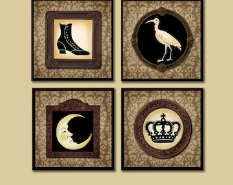 Gothic Coasters, Silhouette Coaster Set, Victorian Curiosities, Low Brow, Eccentric, Collector, Anthropology, Hostess Gift, Housewarming