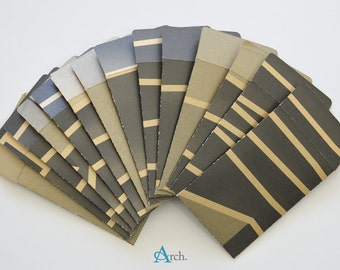 Gift Card Mini Envelopes (14 pcs) - brown with gold stripes