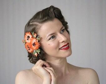 "Orange Fascinator, 1950s Floral Clip, Vintage Hair Clip Women, Fall Hair Flower, Orange Headpiece - ""August Ablaze"""