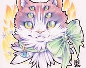 Eyes for Days - Pastel Kitten - Cat with Bow - PRINT