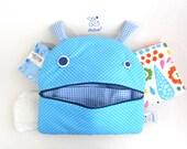 Stroller Nappy Changing Bag | Zé Nappie-glutton | funny diaper bag | Two pockets bag | Baby boy clothes organizer | kids pajamas bag | Blue