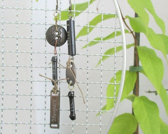 asymmetrical earrings with a resistor and capacitors tesla, steampunk earrings, upcycled earrings, earrings resistor, capacitors earrings