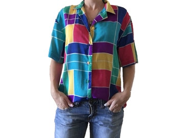 Color Blocked Button Up/ Short Sleeve Button Up Blouse/ Vibrant Colored Button Up/ Yello/ Blue/ Teal/ Pink/ Purple/ Green