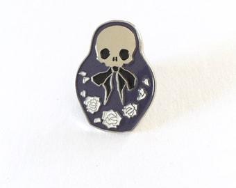 Nesting doll soft enamel pin, lapel pin, goth creepy cute skull jewelry, matryoshka