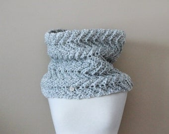 Soft Warm Wool Free Cowl . Chunky Chevron Infinity Scarf . Made in Canada  {  Grey White Mix  }
