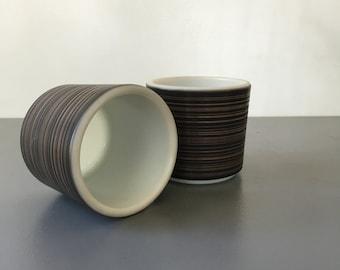 vintage Pyrex Terra mugs handleless retro black and brown striped